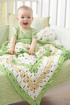 Follow this free crochet pattern to create a from the middle baby blanket using Bernat Baby Blanket bulky yarn.