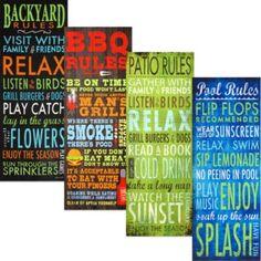 Rules Indoor/Outdoor Wall Art - BedBathandBeyond.com