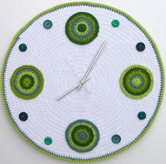 This large crochet wall clock is sold on Etsy by crocheTime Crochet Home Decor, Crochet Art, Crochet Motif, Free Crochet, Crochet Patterns, Crochet Style, Diy Clock, Crochet Fashion, Sell On Etsy