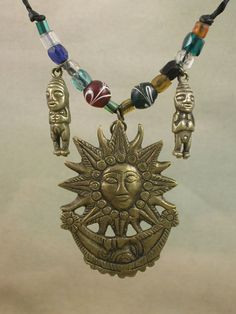 Vintage Peruvian Brass Yin Yang Sun Moon Man Woman Glass Bead Collar Necklace #Collar