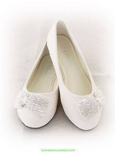 Flower Girl Dresses, Communion Dresses, Pageant Dresses - White Fancy Ribbon Accented Girl Shoes