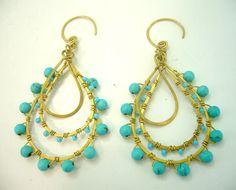 Blue turquoisedangle brass wrap wire earring hoop