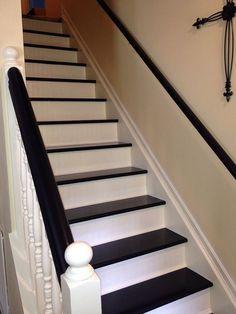 beadboard wallpaper on stairs
