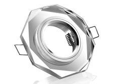 Einbaurahmen klares Kristallglas - 8eck - Schnellspannkopf - flach