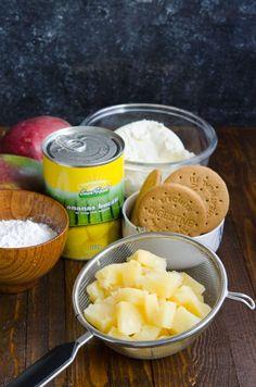 Cheesecake cu ananas si mango - Din secretele bucătăriei chinezești Mango, Camembert Cheese, Biscuit, Caramel, Cheesecake, Deserts, Food, Salads, Manga
