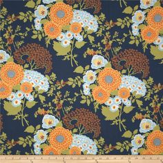 Joel Dewberry Botanique Bold Bouquet Asparagus from @fabricdotcom  Designed by Joel Dewberry for Free Spirit, this cotton print fabric is perfect for quilting, apparel and home decor accents. Colors include apricot, aparagus, light blue and deep blue.