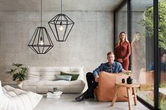 The Beacon Lighting Leconic Contra 1 light geometric design pendant in black wood