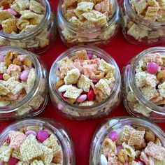 Valentine Chex Mix:  Ingredients:    6 cups of Rice Chex cereal    1 cup white vanilla baking chips    1 cup pink vanilla baking chips    2 cups Valentine themed m's    1 cup dry roasted peanuts