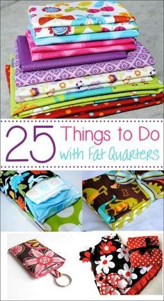 If you love sewing and want to use up some of your smaller pieces of fabric, these projects made with fat quarters are a perfect project for you. Try these 25 fun things to do with fat quarters that are quick and easy and fun to sew! Easy Sewing Projects, Sewing Projects For Beginners, Sewing Hacks, Sewing Tutorials, Sewing Crafts, Sewing Tips, Sewing Ideas, Sewing Basics, Scrap Fabric Projects