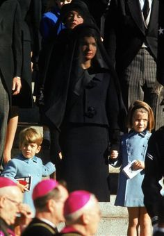 JFK's funeral, Jackie with John Jr. and Caroline