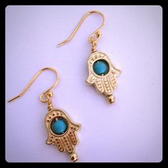 """Gold Hamsa Hand Earrings Pretty Gold Hamsa Hand Earrings with Turquoise Bead. 14k Gold Plated EarWires. 1 1/4""""🌙 Includes rubber safety backs Jewelry Earrings"""