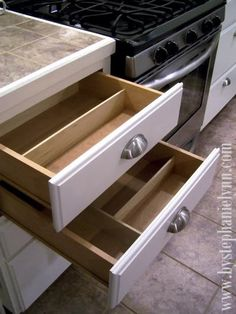 DIY drawer dividers made with thin boards and Gorilla Wood Glue.