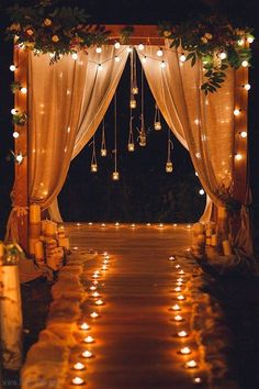 rustic country night wedding arch with lights #wedding #weddingideas #himisspuff #weddingbackdrops Wedding Reception Entrance, Wedding Ceremony Backdrop, Wedding Backdrops, Reception Ideas, Wedding Arches, Wedding Night, Dream Wedding, Night Beach Weddings, Luxury Wedding