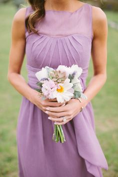 Pretty purple bridesmaid dress for a summer wedding paired with lightly hued bouquet // black raspberry ice cream Bridesmaids And Groomsmen, Wedding Bridesmaid Dresses, Lavender Bridesmaid, Bridesmaid Flowers, Purple Wedding, Wedding Colors, Perfect Wedding, Dream Wedding, Future Mrs