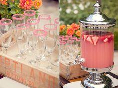 Wedding Drink Stations - stylish pink lemonade stand