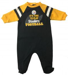 "Steelers Sleep N Play Baby Playsuit $18.99   Official NFL Licensed Steelers Print Baby Playsuit is a jersey union suit and covered feet. Steelers logo print with raised black & gold design that says ""It's Time to Play Steelers Football."" Striped raglan sleeves & feet. Makes a great shower gift. 0-3, 3-6, 6-9 months. steelers-nfl-sleep-and-play-its-time"