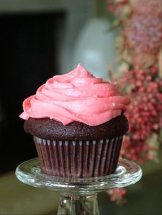 Chocolate Cupcakes with Strawberry Buttercream