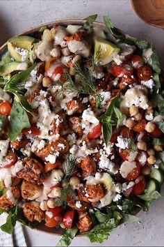 Salad Recipes, Diet Recipes, Cooking Recipes, Chard Recipes, Tofu Recipes, Recipies, Greek Chicken Salad, Tahini Chicken, Greek Lemon Chicken