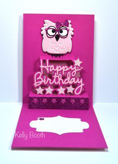 Kelly Booth using the Pop it Ups Happy Birthday, Poppy the Owl and Props1 die sets by Karen Burniston for Elizabeth Craft Designs. - Lovin The Life I Color: I'm Playing with the Girls at Crazy For Challenges this Month C4C293!