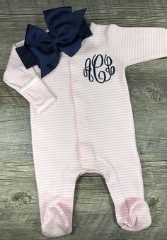 Baby Girl Coming Home Outfit Monogrammed Footie Personalized Newborn Coming Home Baby Shower Gift Hospital Pictures Footed Sleeper - Amelia Baby Name - Ideas of Amelia Baby Name - Baby Girl Coming Home Outfit Monogrammed Footie Newborn Coming Home Outfit, Going Home Outfit, Girls Coming Home Outfit, Take Home Outfit, Baby Kind, Baby Love, Winter Newborn, Hospital Pictures, Baby Monogram