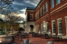 Early morning photograph of the outdoor tables of the Courtyard Dining Hall at Western Carolina University in Cullowhee, North Carolina.