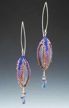 Peyote Stitched Pod Earrings with Venetian Blown by mikelle77