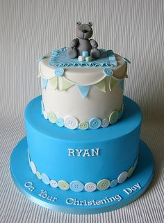 Ryan's Christening Cake by RubyteaCakes Baby Boy Cakes, Cakes For Boys, Baby Shower Cakes, Beautiful Cakes, Amazing Cakes, Fondant Cakes, Cupcake Cakes, Christening Cupcakes, Button Cake