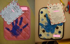 "Mother's Day potholder (attach ""recipe"" activity)."