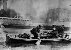 Police rowing boat off the entrance to London Docks. - The working Thames - Port Cities Victorian London, Vintage London, Old London, East London, Victorian Era, Edwardian Era, London History, British History, Victoria Reign