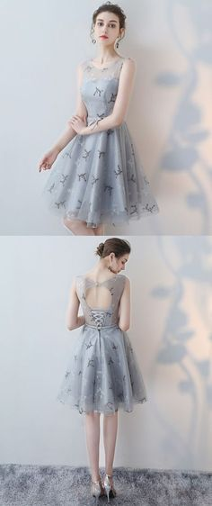 Short Sleeveless Tulle Open-Back Homecoming Dress,#homecomingdress