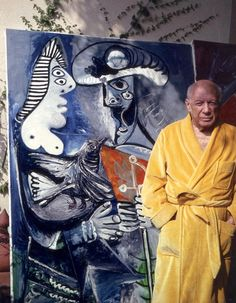 Picasso with Le Couple, painted 9 October 1970, in Mougins, on the artist's 89th birthday. 25 October 1970.