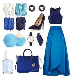 """""""The Blues"""" by zoeashwong on Polyvore featuring Illamasqua, Essie, Eos, Pinko, TIBI, Michael Kors, Brooks Brothers, Dorothy Perkins, FOSSIL and C6"""
