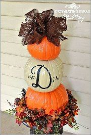 Have seen several of these stacked pumpkin ideas and I am completely in love with them! Want to do the same thing with terra cotta pots at different angles and fill with flowers in spring...