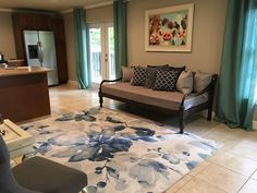 House basement inter design some furniture was refurbished all made by my mom and I.   #refurbished#DIY#basement#design#decor#home#aqua#Navy#blue#cozy#colors#summer