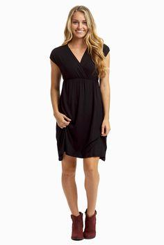 6610804c25e Black Draped Nursing Dress