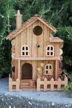 Birdhouse with Front Yard, wine cork art Bird Houses Painted, Bird Houses Diy, Fairy Houses, Bird House Plans, Bird House Kits, Wine Cork Art, Wine Corks, Wine Cork Birdhouse, Popsicle Stick Houses