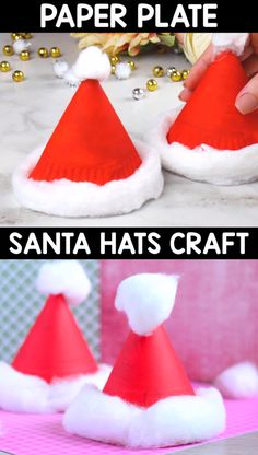 This paper plate Santa hats craft is perfect classroom hat as these can easily be used as party hats. Ready to get the Christmas party started? diy videos classroom Paper Plate Santa Hats Craft – Christmas Crafts for Kids Christmas Arts And Crafts, Christmas Crafts For Toddlers, Winter Crafts For Kids, Toddler Crafts, Christmas Fun, Christmas Crafts Paper Plates, Diy Christmas Stuff, Christmas Crafts For Kids To Make At School, Christmas Decorations Diy For Kids