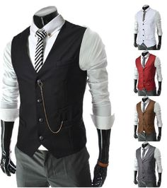 Spring 2014 new men's business casual vest metal chain decoration Mens Formal Vest, Mens Suit Vest, Mens Suits, Waistcoat Men, Formal Suits, Suit Jacket, Business Casual Men, Business Fashion, Business Formal
