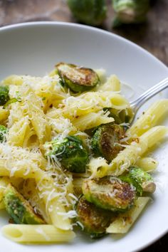 Browned Butter and Brussels Sprouts Penne for One. Crazy easy and totally delicious! #glutenfree www.maebells.com