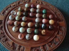 Wooden - NICE VINTAGE CARVED SOLITAIRE GAME WITH AGATE MARBLES