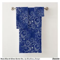 Navy Blue & Silver Arctic Swirl Bath Towel Set Bath Towel Sets, Bath Towels, Blue And Silver, Navy Blue, Christmas Items, Christmas Card Holders, Arctic, Keep It Cleaner, Colorful Backgrounds