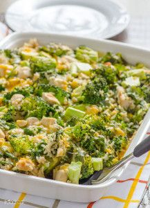 Skinny School Night Casserole - a healthy casserole recipe featuring a hearty combination of chicken, broccoli, and rice.