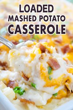 A recipe for loaded mashed potato casserole, featuring crispy thick-cut, bacon, freshly grated Cheddar cheese, and chopped green onions. Loaded Mashed Potato Casserole, Potatoe Casserole Recipes, Potato Recipes, Potato Ideas, Flavored Mashed Potatoes Recipe, Bean Casserole, Vegetable Recipes, Chicken Recipes, Potluck Recipes