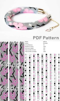 Bead crochet pattern for bracelet - Modern Crochet Necklace Pattern, Crochet Beaded Bracelets, Bead Crochet Patterns, Bead Crochet Rope, Seed Bead Patterns, Beaded Bracelet Patterns, Beading Patterns, Loom Beading, Bead Jewelry