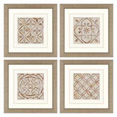Paragon Decor Moroccan Tiles Framed Wall Art - Set of 4 - 7632