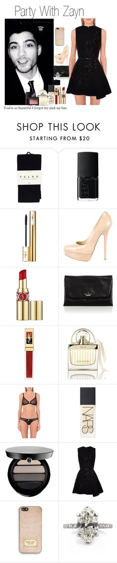 """""""Party With Zayn (Requested)"""" by one-direction-outfitsxxx ❤ liked on Polyvore featuring Falke, NARS Cosmetics, Yves Saint Laurent, Jimmy Choo, Kate Spade, Chloé, L'Agent By Agent Provocateur, Giorgio Armani, Elie Saab and MICHAEL Michael Kors"""