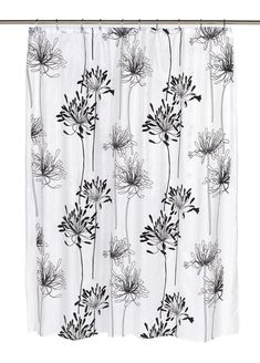Royal Bath Autumn Flowery Design Cologne Fabric Shower Curtain with Poly Taffeta Flocking in Black/White Size: 70 Fabric Shower Curtains, Laundry In Bathroom, Bathroom Rugs, Shower Curtain Hooks, Carnations, Flocking, Fabric Design, Floral Design