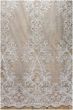 Wedding dress lace, bridal net lace fabric, Very soft and beautiful ornate lace fabric, net lace design - off-white - (CLF0612321)