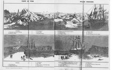 This Panorama, painted in 1850 by H.C. Selous, depicts Sir James Clark Ross's ships in two distinctly different scenes: First, at midnight in the Arctic summer, navigating open leads between drifting icebergs, and second at high noon in the Arctic winter, with the sub long gone and the moon providing the only illumination (note the stark shadow cast by the men outside the ships). It was customary, since Parry's 1820 venture, to plan on staying over at least 1 winter, 'housing in' the…