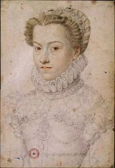 François Clouet, c.1510-1572, French, Preparatory Drawing for the Portrait of Elizabeth of Austria, Queen of France, c. 1571.  Black and red chalk and highlights in white chalk, 34 x 23.2 cm. Bibliotheque national de France, Paris.  Northern Mannerism.